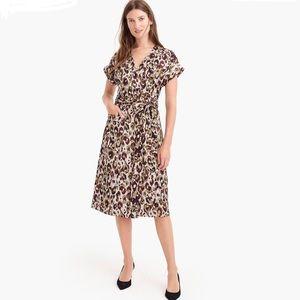 J. Crew Wrap Dress in Leopard Satin-Back Crepe